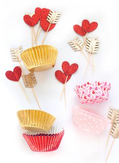 Valentine's Day Cupcake Toppers & Liners