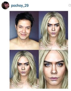 Transformed Into Cara Delevingne Cara Delevingne, Calgary, Celebrity Makeup Transformation, Beauty Secrets, Beauty Hacks, Beauty Tips, Male Makeup Artist, Paolo Ballesteros, Beauty Make Up