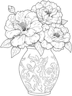 Printable Flower Coloring Pages - Free Coloring Sheets Flower Coloring Pages, Coloring Book Pages, Printable Coloring Pages, Coloring Sheets, Colouring Pages For Adults, Mandala Coloring, Beautiful Flower Arrangements, Beautiful Flowers, Floral Arrangement