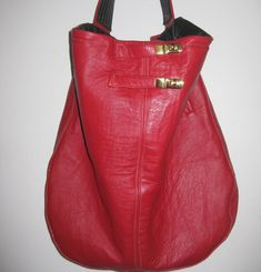 FERN-Large Red Slouchy Hobo, Recycled Hobo,Recycled Leather Hobo, Large Leather Bag, Reused Leather Bag, Recycled Leather Handbag