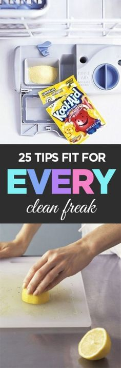 25 TIps Fit For Every Clean Freak- cleaning tips, cleaning tricks, cleaning hacks and other cleaning ideas- popular pin for all things cleaning! Cleaning Hacks Tips And Tricks, Organizing Hacks, Household Cleaning Tips, House Cleaning Tips, Diy Cleaning Products, Cleaning Solutions, Diy Organization, Cleaning Recipes, Diy Cleaners