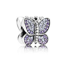 New spring collection PANDORA | Pave butterfly silver charm with purple and lavender cubic zirconia