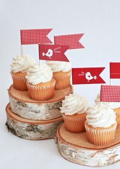 One Charming Party | Birthday Party Ideas › love bird cupcake toppers