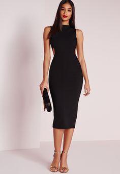 Missguided - Bandeau Insert Midi Dress Black