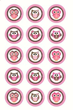 INSTANT DOWNLOAD Breast Cancer Owl Bottle Cap by DigiPrintz