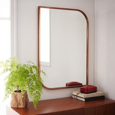 Metal Framed Wall Mirror - Rose Gold