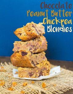 Chocolate Peanut Butter Chickpea Blondies - vegan + gluten-free | glutenfreeveganpantry.com