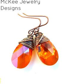 Astral Pink crystal copper wire wrapped pendant earrings. Copper and orange pink  jewelry, hand made earrings
