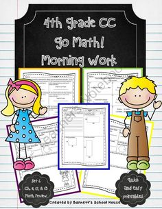 Morning Work Bundle 4th Grade Go Math! Resource  from Barnett's School House on TeachersNotebook.com -  (211 pages)  - The entire bundle to my Go Math! morning worksheets! These sheets are for 4th Grade and connect to the Go Math! series.  Check out www.NYHomeschool.com as well. School Resources, Math Resources, Math Activities, 4th Grade Classroom, 4th Grade Math, Math Tools, Go Math, Simple Math, Morning Work