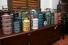 Taken at the kitchen of the Peranakan Mansion at Church Street, Penang Tiffin Carrier, Tiffin Box, Asian Restaurants, Catering Display, Fabric Structure, Home Gadgets, Chinese Restaurant, Food Containers, Cooking Tools