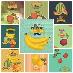 Grocery store pattern with modern vegetables and fruits set vectorand