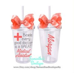 Beside every good doctor is a GREAT Medical Assistant Classic Tumbler With Name by on Etsy Medical Humor, Medical School, Certified Clinical Medical Assistant, Physician Assistant, Good Doctor, Medical Field, Nurses Week, Makeup Quotes, Silhouette Cameo Projects