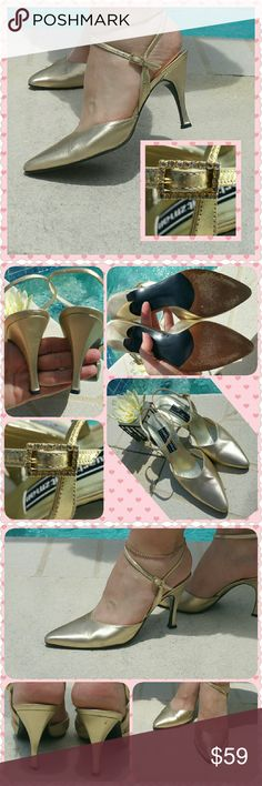 "SALE!!!  Stuart Weitzman gold w/bling buckle Save hundreds of dollars over new!!!  Stunning pair of Stuart Weitzman leather shoes.  A 3 3/4"" heel, sexy ankle strap & rhinestone buckle on each adjustable strap.  Gold in color to match most formal wear & evening attire.  Size 9, good pre-loved condition.  A bit of small scuffing here & there, rub marks on heels...see photos...only slightly noticeable when wearing them.  Note:  Heel tips need to be replaced :)  Great for the upcoming holiday…"