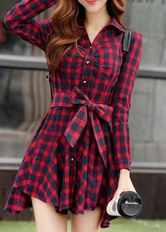 Asymmetrical Buttoned Checkered/Plaid Casual Dress with Belt Casual Dresses For Women, Casual Outfits, Clothes For Women, Cute Fashion, Trendy Fashion, Fashion 2018, Fashion Brands, Fashion Ideas, Plaid Dress
