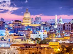 Havana, Cuba Downtown Skyline at Night. Havana, Cuba downtown skyline with the C , Cuba Travel, Cruise Travel, Travel Planner, Travel Deals, Private Flights, Norwegian Cruise Line, Vacation Trips, Taj Mahal, New York Skyline