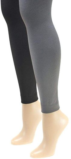a18efc2c9169e Muk Luks Women's Fleece-Lined Footless Tights 2 -Pair Pack Footless Tights,  High