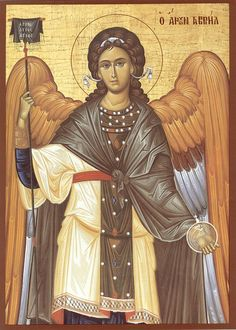 Eastern orthodox icon of Archangels Michael and Gabriel. Religious Images, Religious Icons, Religious Art, Byzantine Art, Byzantine Icons, Saint Gabriel, Guardian Angels, Art Icon, Orthodox Icons