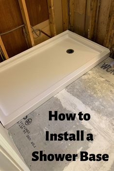 Learn how to install a shower base and update your shower. Let us help you DIY remodel or update your bathroom. Diy Bathroom Remodel, Shower Remodel, Bathroom Renovations, Bathroom Plumbing, Bathroom Flooring, Plumbing Pipe, Basement Bathroom, Master Bathroom, Small Bathroom With Shower
