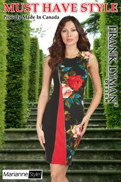 Frank Lyman 2017. Stunning floral dress in great fitting style. Proudly Made in Canada