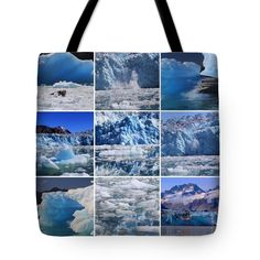 """A Collage of Icy Alaskan Images Tote Bag 18"""" x 18"""""""