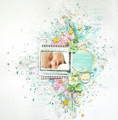 mixed media baby layout by  Valerie Ouellet