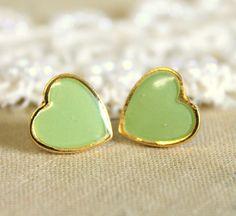 Minty seafoam  Heart gold stud  earring petit elegant by iloniti, $19.00