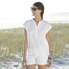 Relaxed Linen Blouse - White from The White Company