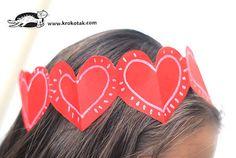 Krokotak paper heart crown for Valentine's Day