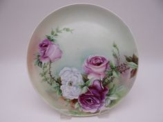 Vintage GDA Limoges France Hand Painted and Artist Signed Rose Bouquet Plate Antique Dishes, Antique China, Hand Painted Plates, Decorative Plates, Fine Porcelain, Rose Bouquet, White Roses, Glass Art, France