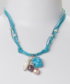 Take a look at this Turquoise & Pearl Cord Necklace by Bamboo Trading Company on #zulily today! $20 !!