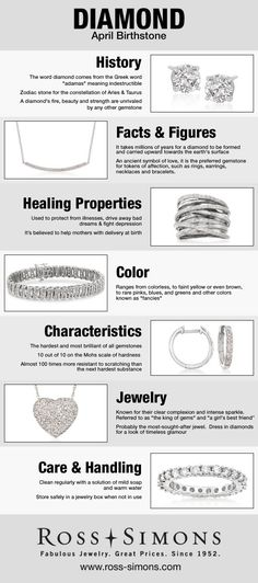 Happy Birthday April Babies! Learn more about your diamond birthstone in this infographic. #RossSimons