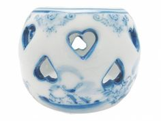 Porcelain Blue: Votive Candle holder With Hearts - DutchGiftOutlet   - 1