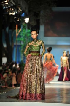 hijau lumut...........kebaya inspired dress, Indonesian traditional dress by renowned Indonesian designer Anne Avantie