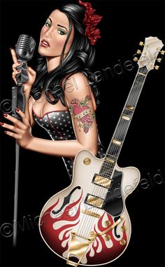Rockabilly Pinup #pinup #pin #Up #rock #singing #sing #guitar #Tattoo #tatoo #tatto #illustration