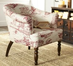 Love the shape of the chair, just not the fabric. Not sure it is worth it to buy and have it reupholstered - even on sale.