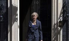 Dressed in a dark suit showing bit of cleavage, Theresa May will move into 10 Downing Street today. 2nd woman UK PM, July 13, 2016, takes power.