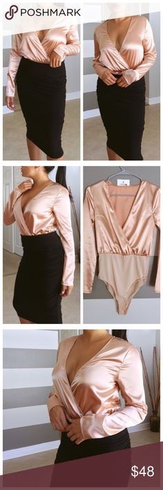 SALE• Satin champagne long sleeve plunge bodysuit Brand new without tags. Champagne satin like material that's super silky. Button snap closure with stretchy bottoms. Mid-full coverage.   •Modeling size- S/M •My stats- 5' 108lbs 34C •Prices are Firm •NO Trades •Non smoking home   ➕ Sold out? *Some items are eligible for Pre-Order- just ask! Tops Blouses