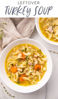 This leftover turkey soup is the perfect recipe to make after Thanksgiving or Christmas Like a classic chicken noodle soup but made with chopped leftover turkey its nouri. Easy Turkey Soup, Turkey Wild Rice Soup, Leftover Turkey Soup, Turkey Noodle Soup, Turkey Leftovers, Noodle Soups, Nutritious Snacks, Healthy Soup Recipes, Healthy Food