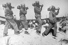 Roger Smith, a black photographer for the US Office of War Information, took hundreds of pictures of black Marines training at Montford Point at Camp Lejeune, North Carolina. These Marines started enlisting in the Corps in early June of 1942. Of the 20,000, many saw combat and action in the South Pacific including several Montford Marines that live in Detroit.