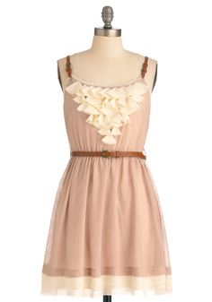 Stable Scape Dress - Short, Tan, Tan / Cream, Solid, Ruffles, Trim, A-line, Spaghetti Straps, Party