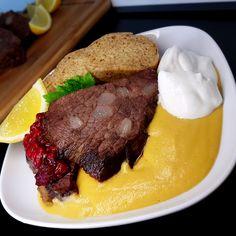 Svíčková s malinami a keto knedlíkem bez mouky Steak, Beef, Meals, Food, Diet, Meat, Meal, Essen, Steaks