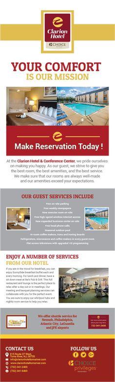 NJ has many different tourist destinations, especially down at the Jersey Shore. If you are staying in our area, the hotel that you want to choose is Clarion Hotel & Conference Center. We are a member of the Choice Hotels branch and provide excellent rooms, luxurious amenities and a delicious restaurant.