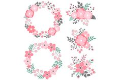 Check out Pastel Floral Wreath & Bouquets by LoveGraphicDesign on Creative Market