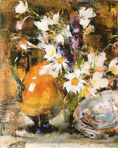 This is a photo of the Nicolai Fechin painting titled Still Life with Flowers.