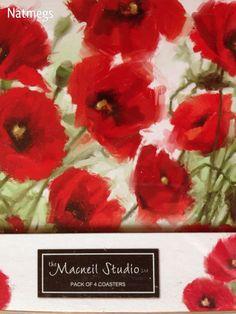 COASTER SET~FOUR~MACNEIL RED POPPY/POPPIES~LOVELY~FREE POST UK