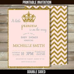 Princess Baby Shower Invitation Pink and Gold Baby Shower