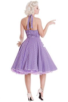 Hell Bunny Charlotte Purple Gingham 50s Halter Dress