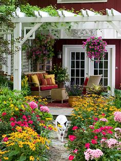 Layers of color with gorgeous hanging flower baskets and potted flowers