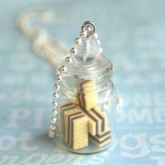 chocolate wafers in a jar necklace