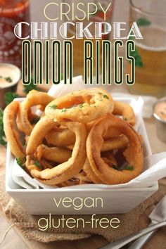 These Crispy Chickpea Onion Rings are both vegan and gluten free!